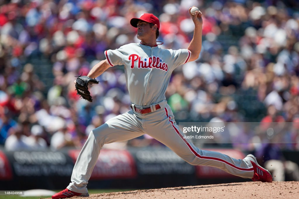 Starting pitcher <a gi-track='captionPersonalityLinkClicked' href=/galleries/search?phrase=Cole+Hamels&family=editorial&specificpeople=565675 ng-click='$event.stopPropagation()'>Cole Hamels</a> #35 of the Philadelphia Phillies delivers to home plate during the third inning against the Colorado Rockies at Coors Field on July 15, 2012 in Denver, Colorado.