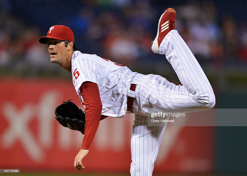 Starting pitcher <a gi-track='captionPersonalityLinkClicked' href=/galleries/search?phrase=Cole+Hamels&family=editorial&specificpeople=565675 ng-click='$event.stopPropagation()'>Cole Hamels</a> #35 of the Philadelphia Phillies follows through on a pitch during the game against the Washington Nationals at Citizens Bank Park on September 25, 2012 in Philadelphia, Pennsylvania.