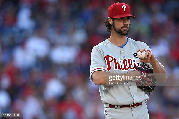 Starting pitcher Cole Hamels of the Philadelphia Phillies looks on against the Washington Nationals at Nationals Park on May 23 2015 in Washington DC...