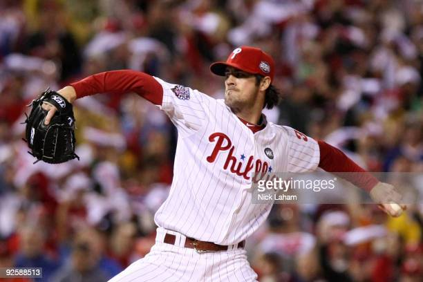 Starting pitcher Cole Hamels of the Philadelphia Phillies pitches against the New York Yankees in Game Three of the 2009 MLB World Series at Citizens...