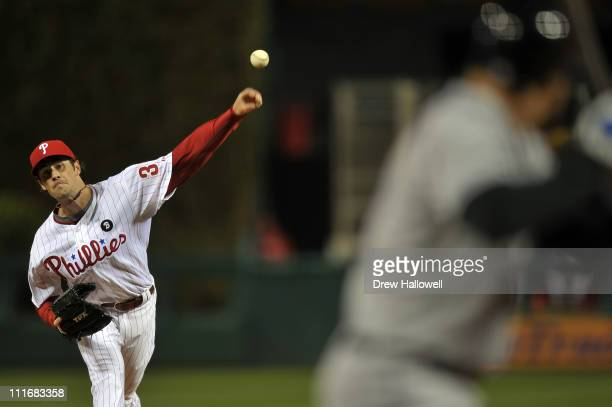 Starting pitcher Cole Hamels of the Philadelphia Phillies pitches to Scott Hairston of the New York Mets at Citizens Bank on April 5 2011 Park in...