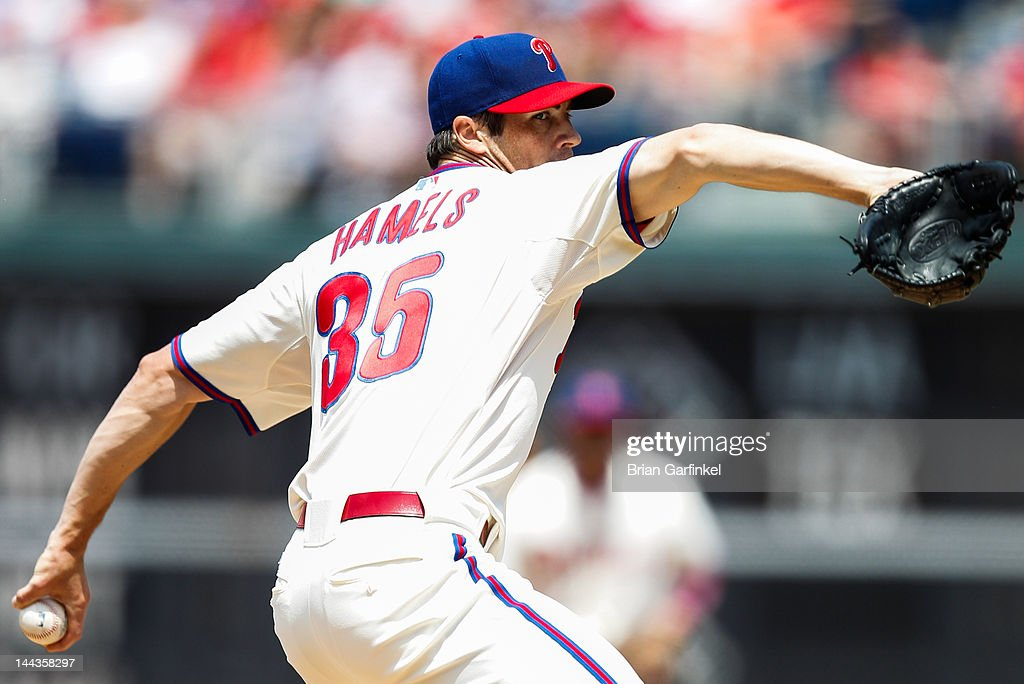 Starting Pitcher <a gi-track='captionPersonalityLinkClicked' href=/galleries/search?phrase=Cole+Hamels&family=editorial&specificpeople=565675 ng-click='$event.stopPropagation()'>Cole Hamels</a> #35 of the Philadelphia Phillies throws a pitch during the game against the San Diego Padres at Citizens Bank Park on May 13, 2012 in Philadelphia, Pennsylvania. The Phillies won 3-2.