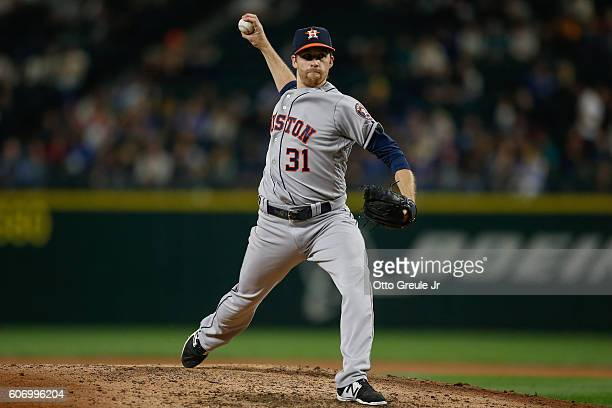 Starting pitcher Collin McHugh of the Houston Astros pitches against the Seattle Mariners in the fifth inning at Safeco Field on September 16 2016 in...