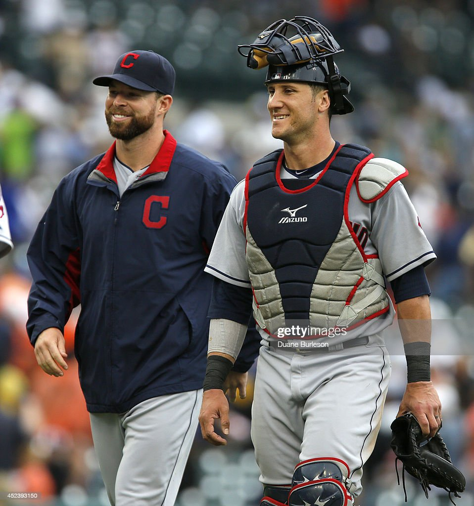 Starting pitcher <a gi-track='captionPersonalityLinkClicked' href=/galleries/search?phrase=Corey+Kluber&family=editorial&specificpeople=7513243 ng-click='$event.stopPropagation()'>Corey Kluber</a> #28 of the Cleveland Indians and catcher <a gi-track='captionPersonalityLinkClicked' href=/galleries/search?phrase=Yan+Gomes&family=editorial&specificpeople=9004037 ng-click='$event.stopPropagation()'>Yan Gomes</a> #10 of the Cleveland Indians smile following a 6-2 win over the Detroit Tigers in game one of a doubleheader at Comerica Park on July 19, 2014 in Detroit, Michigan.