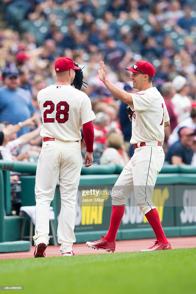 Starting pitcher <a gi-track='captionPersonalityLinkClicked' href=/galleries/search?phrase=Corey+Kluber&family=editorial&specificpeople=7513243 ng-click='$event.stopPropagation()'>Corey Kluber</a> #28 of the Cleveland Indians and right fielder <a gi-track='captionPersonalityLinkClicked' href=/galleries/search?phrase=David+Murphy+-+Baseball+Player&family=editorial&specificpeople=4604222 ng-click='$event.stopPropagation()'>David Murphy</a> #7 of the Cleveland Indians walk off the field between innings against the Oakland Athletics at Progressive Field on July 12, 2015 in Cleveland, Ohio.