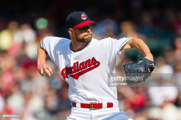 Starting pitcher Corey Kluber of the Cleveland Indians delivers a pitch during the first inning against the Detroit Tigers at Progressive Field on...