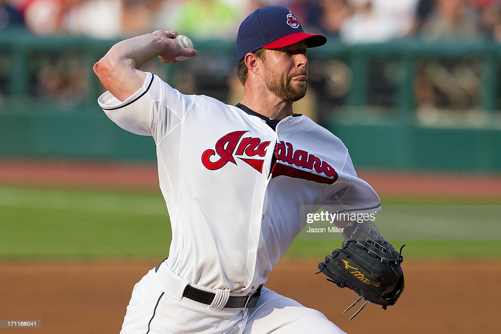 Starting pitcher Corey Kluber #28 of the Cleveland Indians pitches during the first inning against the Minnesota Twins at Progressive Field on June 22, 2013 in Cleveland, Ohio.