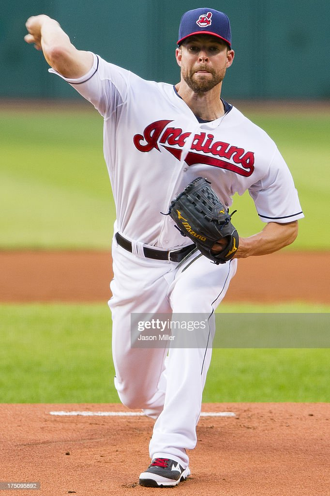 Starting pitcher Corey Kluber #28 of the Cleveland Indians pitches during the first inning against the Chicago White Sox at Progressive Field on July 31, 2013 in Cleveland, Ohio.