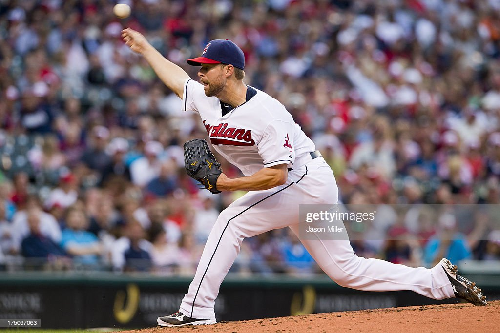 Starting pitcher Corey Kluber #28 of the Cleveland Indians pitches during the fourth inning against the Chicago White Sox at Progressive Field on July 31, 2013 in Cleveland, Ohio.