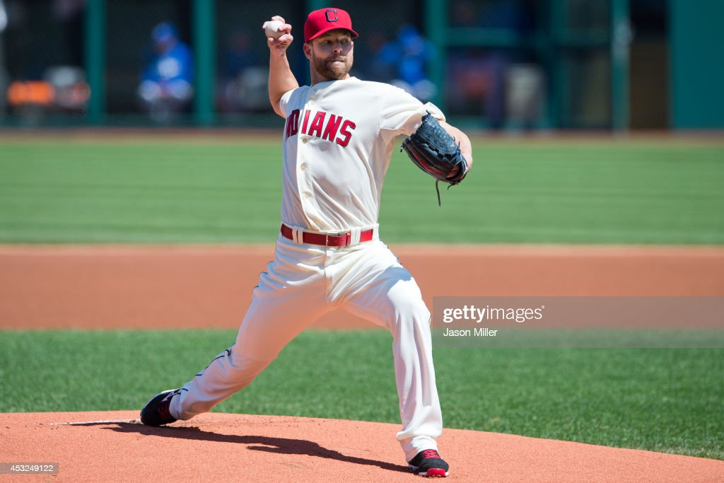 Starting pitcher <a gi-track='captionPersonalityLinkClicked' href=/galleries/search?phrase=Corey+Kluber&family=editorial&specificpeople=7513243 ng-click='$event.stopPropagation()'>Corey Kluber</a> #28 of the Cleveland Indians pitches during the first inning against the Toronto Blue Jays at Progressive Field on April 19, 2014 in Cleveland, Ohio.