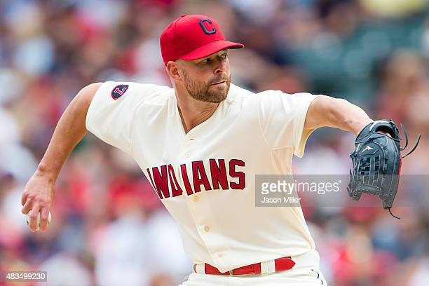 Starting pitcher Corey Kluber of the Cleveland Indians pitches during the second inning against the Minnesota Twins at Progressive Field on August 9...