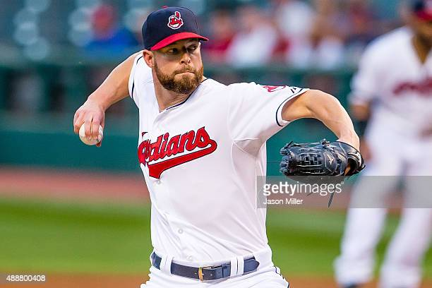 Starting pitcher Corey Kluber of the Cleveland Indians pitches during the first inning against the Kansas City Royals at Progressive Field on...