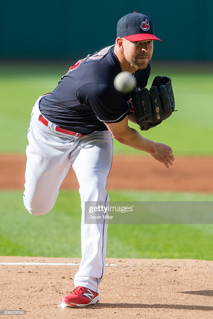 Starting pitcher <a gi-track='captionPersonalityLinkClicked' href=/galleries/search?phrase=Corey+Kluber&family=editorial&specificpeople=7513243 ng-click='$event.stopPropagation()'>Corey Kluber</a> #28 of the Cleveland Indians pitches during the first inning against the Texas Rangers at Progressive Field on May 31, 2016 in Cleveland, Ohio.