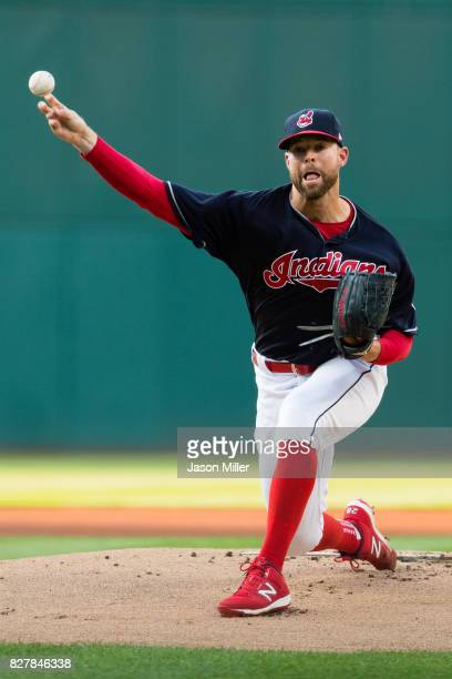 Starting pitcher Corey Kluber of the Cleveland Indians pitches during the first inning against the Colorado Rockies at Progressive Field on August 8...