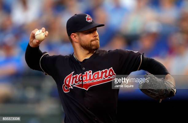 Starting pitcher Corey Kluber of the Cleveland Indians pitches during the 1st inning of the game against the Kansas City Royals at Kauffman Stadium...