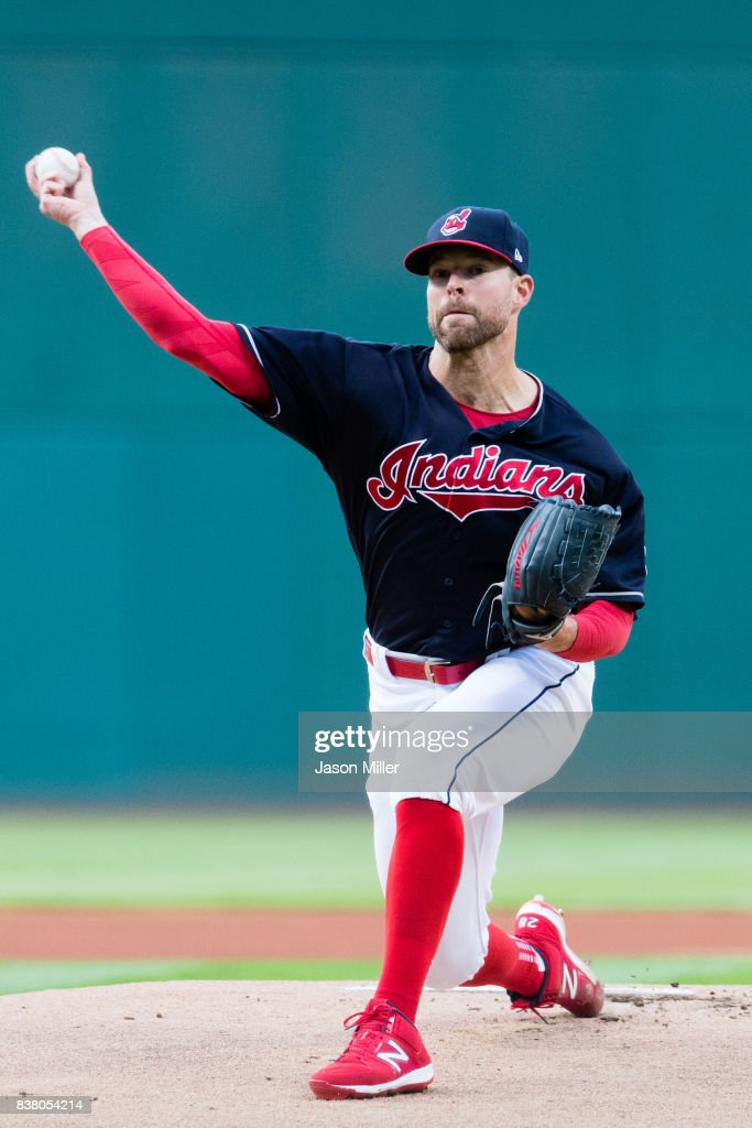 Starting pitcher Corey Kluber #28 of the Cleveland Indians pitches during the first inning against the Boston Red Sox at Progressive Field on August 23, 2017 in Cleveland, Ohio.