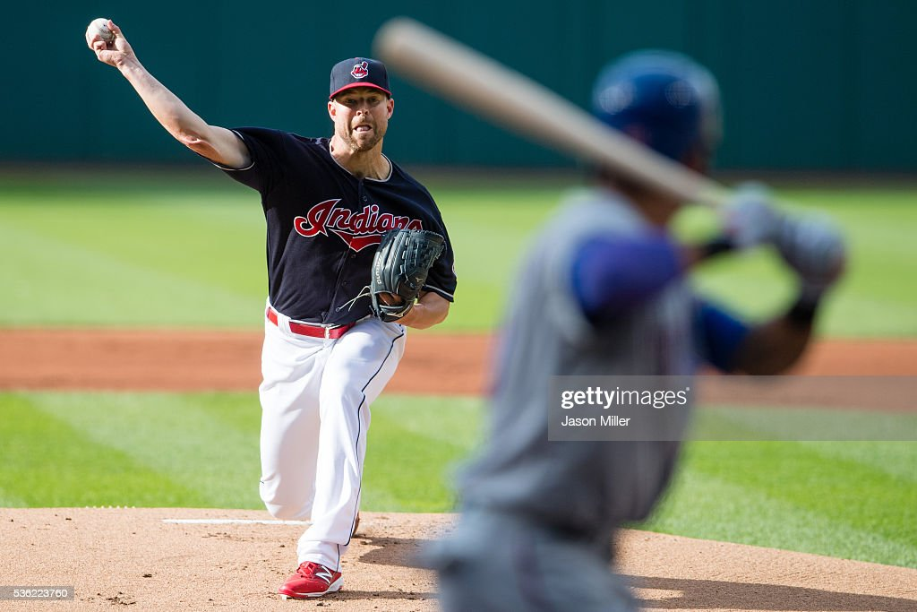 Starting pitcher <a gi-track='captionPersonalityLinkClicked' href=/galleries/search?phrase=Corey+Kluber&family=editorial&specificpeople=7513243 ng-click='$event.stopPropagation()'>Corey Kluber</a> #28 of the Cleveland Indians pitches to <a gi-track='captionPersonalityLinkClicked' href=/galleries/search?phrase=Ian+Desmond&family=editorial&specificpeople=835572 ng-click='$event.stopPropagation()'>Ian Desmond</a> #20 of the Texas Rangers during the first inning against the Texas Rangers at Progressive Field on May 31, 2016 in Cleveland, Ohio.