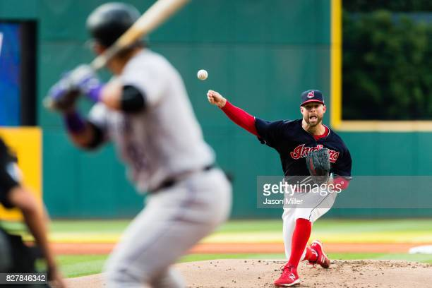 Starting pitcher Corey Kluber of the Cleveland Indians pitches to Gerardo Parra of the Colorado Rockies during the first inning at Progressive Field...