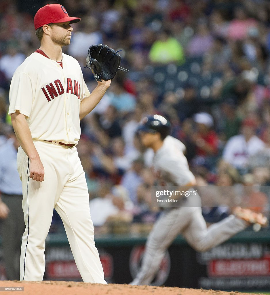 Starting pitcher Corey Kluber #28 of the Cleveland Indians reacts after giving put a solo home run to <a gi-track='captionPersonalityLinkClicked' href=/galleries/search?phrase=Andy+Dirks&family=editorial&specificpeople=7511216 ng-click='$event.stopPropagation()'>Andy Dirks</a> #12 of the Detroit Tigers during the sixth inning at Progressive Field on May 21, 2013 in Cleveland, Ohio.