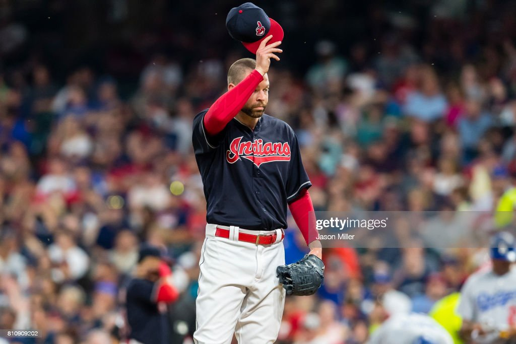 Starting pitcher Corey Kluber #28 of the Cleveland Indians reacts during the fifth inning against the Los Angeles Dodgers at Progressive Field on June 14, 2017 in Cleveland, Ohio.