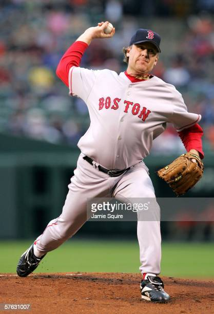 Starting pitcher Curt Schilling of the Boston Red Sox pitches during the game against the Baltimore Orioles on May 16 2006 at Camden Yards in...