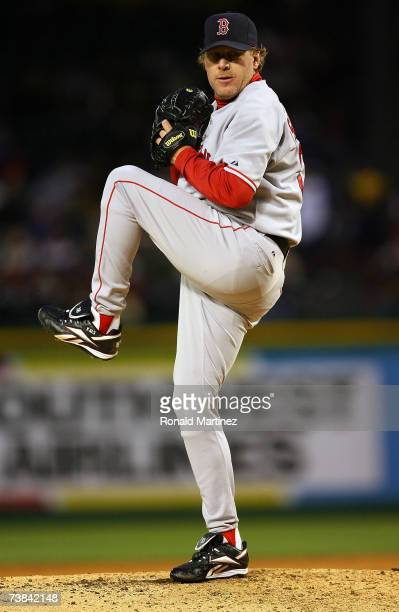 Starting pitcher Curt Schilling of the Boston Red Sox throws against the Texas Rangers at Rangers Ballpark April 8 2007 in Arlington Texas
