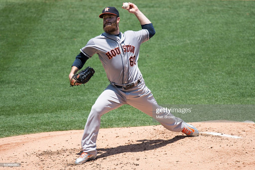 Starting pitcher <a gi-track='captionPersonalityLinkClicked' href=/galleries/search?phrase=Dallas+Keuchel&family=editorial&specificpeople=5928400 ng-click='$event.stopPropagation()'>Dallas Keuchel</a> #60 of the Houston Astros pitches during the second inning of the game against the Los Angeles Angels of Anaheim at Angel Stadium of Anaheim on June 29, 2016 in Anaheim, California.