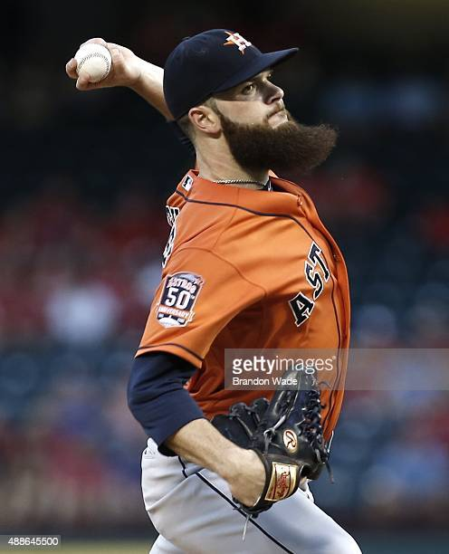 Starting pitcher Dallas Keuchel of the Houston Astros throws during the first inning of a baseball game against the Texas Rangers at Globe Life Park...