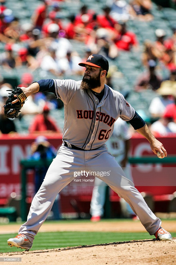 Starting pitcher Dallas Keuchel #60 of the Houston Astros throws the ball in the 2nd inning against the Los Angeles Angels at Angel Stadium of Anaheim on June 29, 2016 in Anaheim, California.
