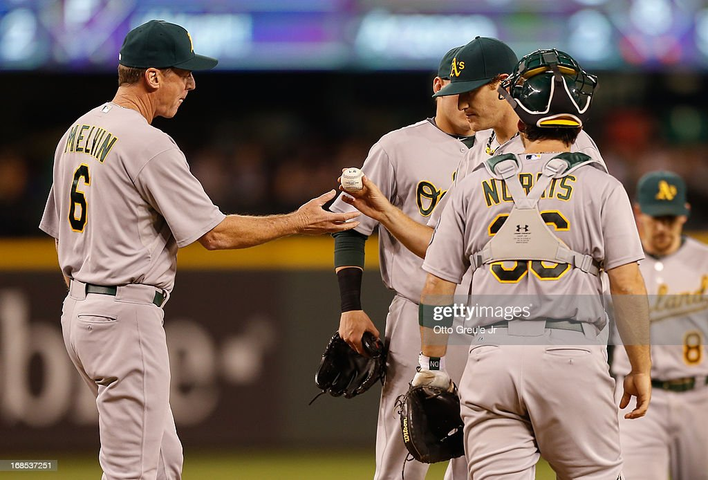 Starting pitcher <a gi-track='captionPersonalityLinkClicked' href=/galleries/search?phrase=Dan+Straily&family=editorial&specificpeople=9615114 ng-click='$event.stopPropagation()'>Dan Straily</a> #67 of the Oakland Athletics is removed from the game by manager <a gi-track='captionPersonalityLinkClicked' href=/galleries/search?phrase=Bob+Melvin&family=editorial&specificpeople=239192 ng-click='$event.stopPropagation()'>Bob Melvin</a> #6 in the sixth inning against the Seattle Mariners at Safeco Field on May 10, 2013 in Seattle, Washington.