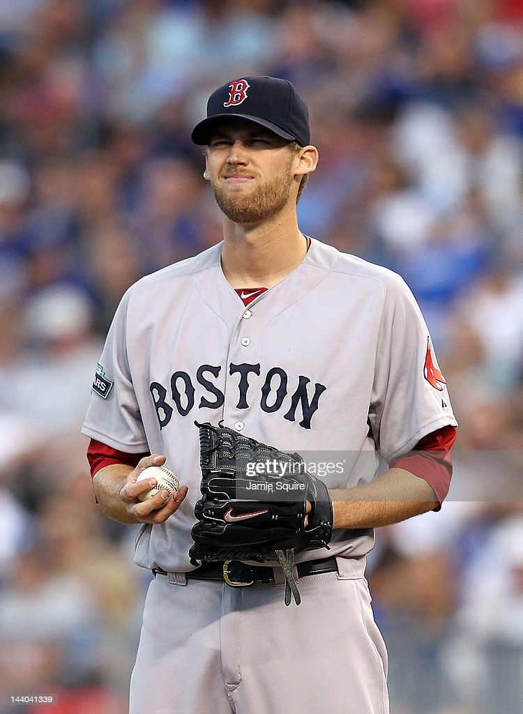 Starting pitcher <a gi-track='captionPersonalityLinkClicked' href=/galleries/search?phrase=Daniel+Bard&family=editorial&specificpeople=550283 ng-click='$event.stopPropagation()'>Daniel Bard</a> #51 of the Boston Red Sox reacts after commiting his second balk during the 2nd inning of the game against the Kansas City Royals on May 8, 2012 at Kauffman Stadium in Kansas City, Missouri.