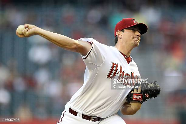 Starting pitcher Daniel Hudson of the Arizona Diamondbacks pitches against the Oakland Athletics during the interleague MLB game at Chase Field on...