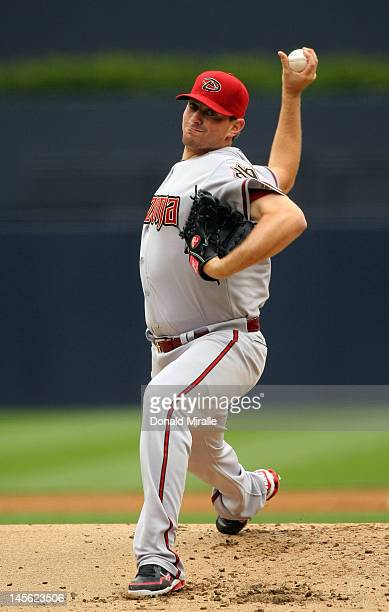 Starting pitcher Daniel Hudson of the Arizona Diamondbacks throws from the mound against the San Diego Padres during their MLB Baseball Game on June...