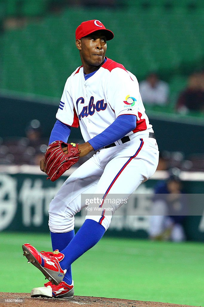 Starting pitcher Danny Betancourt #55 of Cuba pitches during the World Baseball Classic First Round Group A game between Cuba and China at Fukuoka Yahoo! Japan Dome on March 4, 2013 in Fukuoka, Japan.