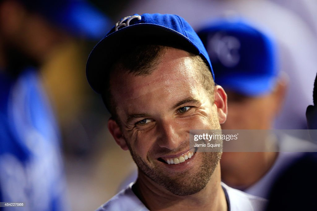 Starting pitcher <a gi-track='captionPersonalityLinkClicked' href=/galleries/search?phrase=Danny+Duffy&family=editorial&specificpeople=5971971 ng-click='$event.stopPropagation()'>Danny Duffy</a> #41 of the Kansas City Royals reacts in the dugout after the end of the 4th inning during the game against the Minnesota Twins at Kauffman Stadium on August 26, 2014 in Kansas City, Missouri.