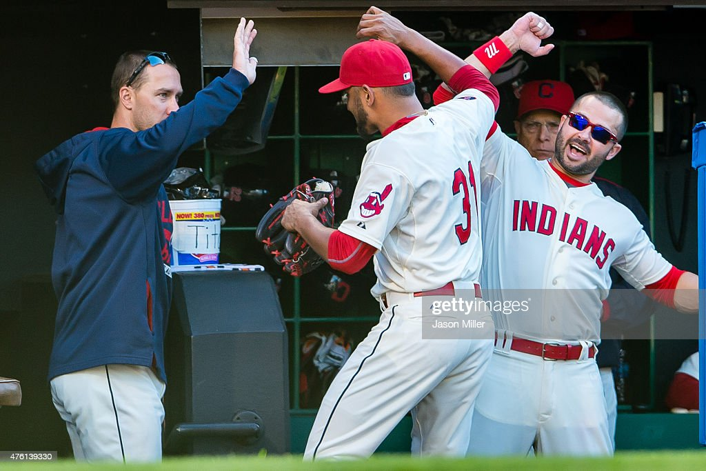 Starting pitcher <a gi-track='captionPersonalityLinkClicked' href=/galleries/search?phrase=Danny+Salazar&family=editorial&specificpeople=8953376 ng-click='$event.stopPropagation()'>Danny Salazar</a> #31 celebrates with <a gi-track='captionPersonalityLinkClicked' href=/galleries/search?phrase=David+Murphy+-+Baseball+Player&family=editorial&specificpeople=4604222 ng-click='$event.stopPropagation()'>David Murphy</a> #7 and <a gi-track='captionPersonalityLinkClicked' href=/galleries/search?phrase=Nick+Swisher&family=editorial&specificpeople=206417 ng-click='$event.stopPropagation()'>Nick Swisher</a> #33 of the Cleveland Indians after Salazar left the game during the eighth inning against the Baltimore Orioles at Progressive Field on June 6, 2015 in Cleveland, Ohio.
