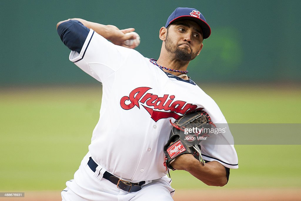 Starting pitcher <a gi-track='captionPersonalityLinkClicked' href=/galleries/search?phrase=Danny+Salazar&family=editorial&specificpeople=8953376 ng-click='$event.stopPropagation()'>Danny Salazar</a> #31 of the Cleveland Indians during the first inning against the Minnesota Twins at Progressive Field on May 7, 2014 in Cleveland, Ohio.