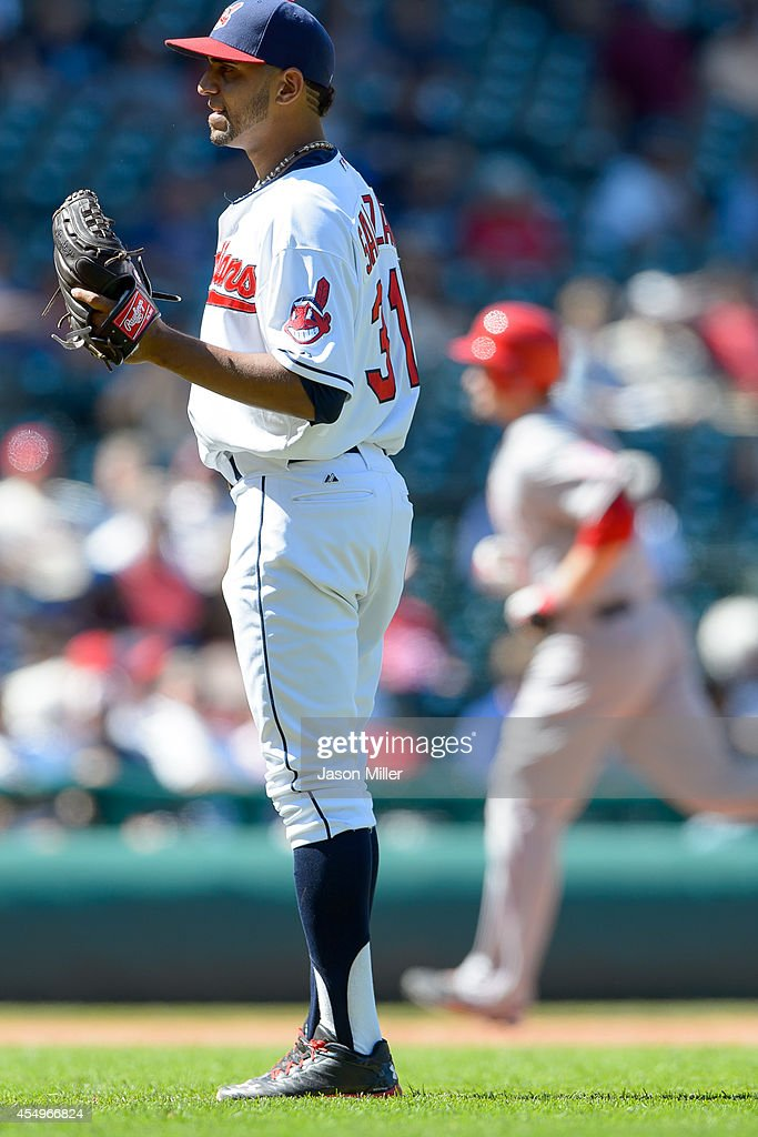 Starting pitcher <a gi-track='captionPersonalityLinkClicked' href=/galleries/search?phrase=Danny+Salazar&family=editorial&specificpeople=8953376 ng-click='$event.stopPropagation()'>Danny Salazar</a> #31 of the Cleveland Indians reacts after giving up a three run home run to <a gi-track='captionPersonalityLinkClicked' href=/galleries/search?phrase=David+Freese+-+Baseball+Player&family=editorial&specificpeople=4948315 ng-click='$event.stopPropagation()'>David Freese</a> #6 of the Los Angeles Angels of Anaheim during the fifth inning at Progressive Field on September 8, 2014 in Cleveland, Ohio.