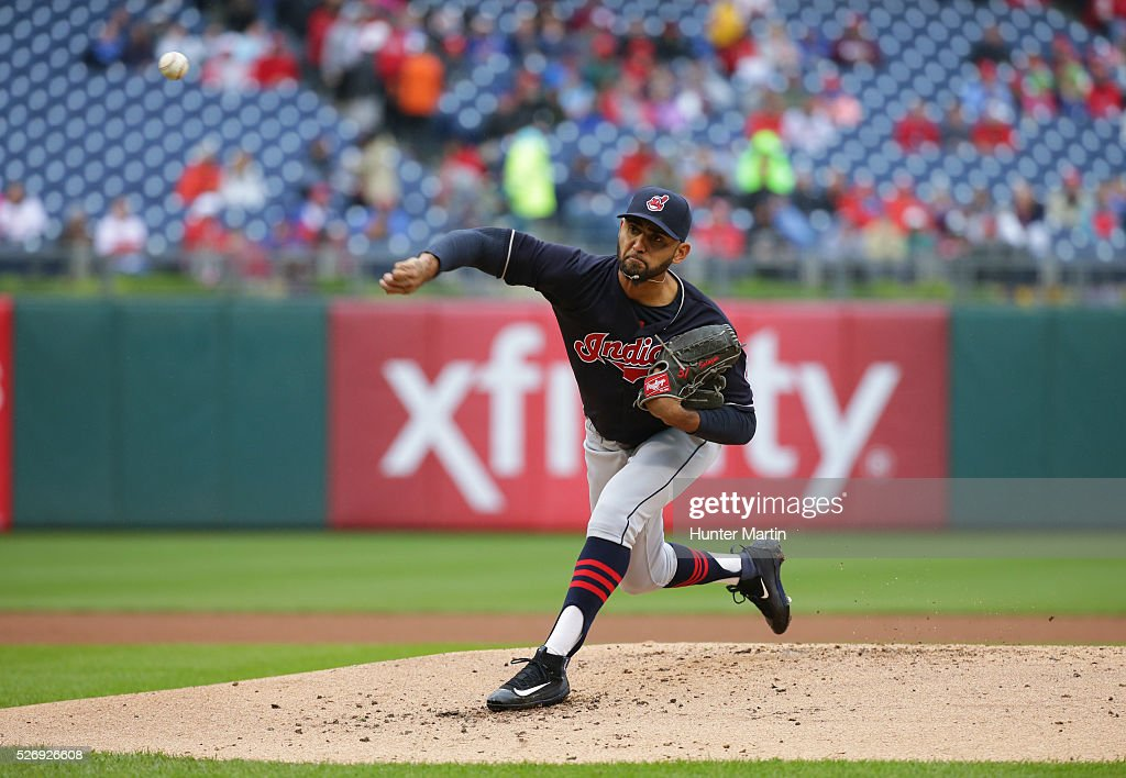 Starting pitcher Danny Salazar #31 of the Cleveland Indians throws a pitch in the first inning during a game against the Philadelphia Phillies at Citizens Bank Park on May 1, 2016 in Philadelphia, Pennsylvania.