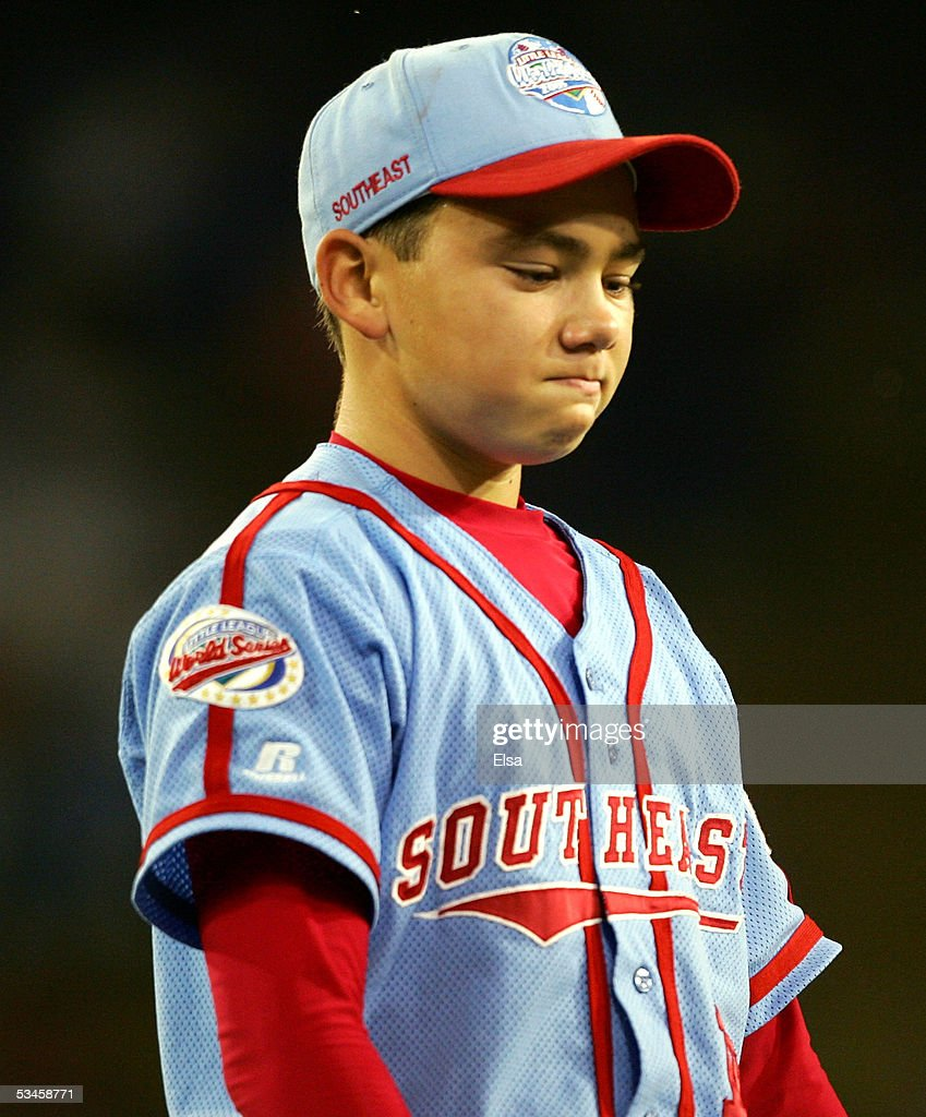 Starting pitcher Dante Bichette Jr. reacts after he is pulled from the pitchers mound and sent to the infield during the United States Semifinal of the Little League World Series on August 24, 2005 at Lamade Stadium in South Williamsport, Pennsylvania. The West team from Vista, California defeated the Southeast team from Maitland, Florida 6-2.