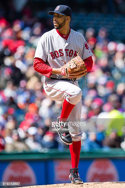 Starting pitcher David Price of the Boston Red Sox pitches during the first inning against the Cleveland Indians during the opening day game at...