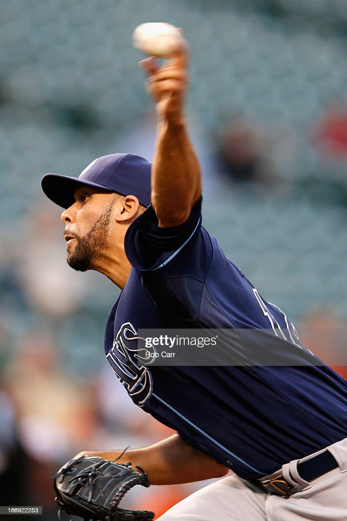 Starting pitcher David Price #14 of the Tampa Bay Rays throws to a Baltimore Orioles batter during the first inning at Oriole Park at Camden Yards on April 18, 2013 in Baltimore, Maryland.