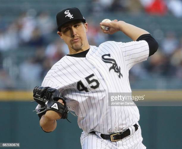 Starting pitcher Derek Holland of the Chicago White Sox delivers the ball against the Minnesota Twins at Guaranteed Rate Field on May 11 2017 in...