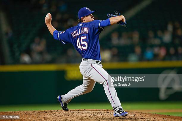 Starting pitcher Derek Holland of the Texas Rangers pitches against the Seattle Mariners in the fifth inning at Safeco Field on April 12 2016 in...