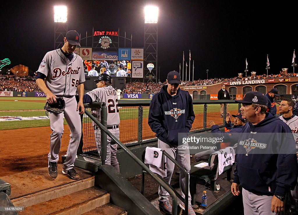 Starting pitcher Doug Fister #58 of the Detroit Tigers walks into the dugout after he was taken out of the game in the bottom of the seventh inning against the San Francisco Giants during Game Two of the Major League Baseball World Series at AT&T Park on October 25, 2012 in San Francisco, California.