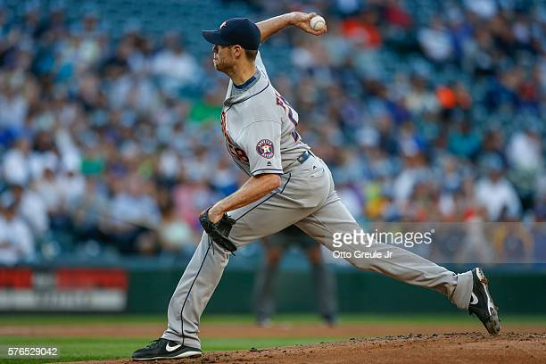 Starting pitcher Doug Fister of the Houston Astros pitches against the Seattle Mariners in the first inning at Safeco Field on July 15 2016 in...