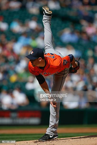 Starting pitcher Doug Fister of the Houston Astros pitches against the Seattle Mariners in the first inning at Safeco Field on September 18 2016 in...