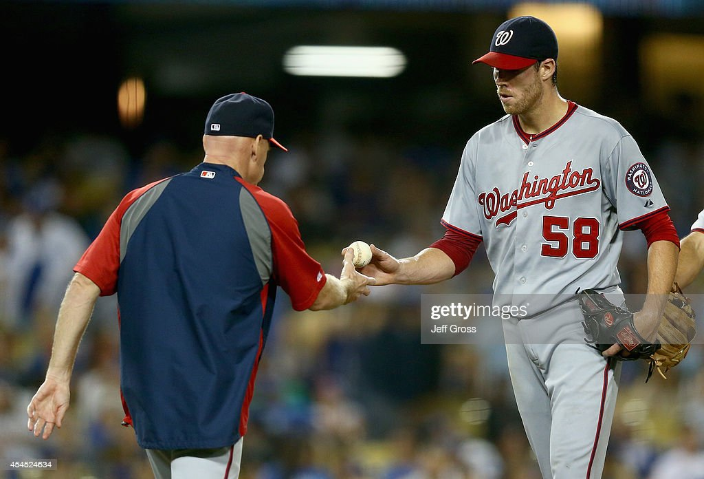 Starting pitcher Doug Fister #58 of the Washington Nationals is taken out of the game by manager Matt Williams in the sixth inning against the Los Angeles Dodgers at Dodger Stadium on September 2, 2014 in Los Angeles, California.