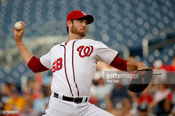 Starting pitcher Doug Fister of the Washington Nationals throws to a Tampa Bay Rays batter in the first inning at Nationals Park on June 18 2015 in...