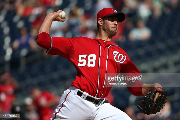 Starting pitcher Doug Fister of the Washington Nationals works the first inning against the Atlanta Braves at Nationals Park on May 9 2015 in...